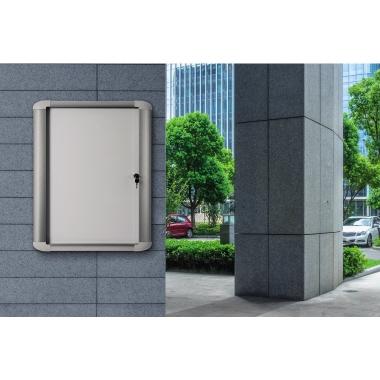 Bi-office Schaukasten Außenbereich 103,6 x 99,5 x 5,7 cm (B x H x T) mit Schloss Aluminium silber