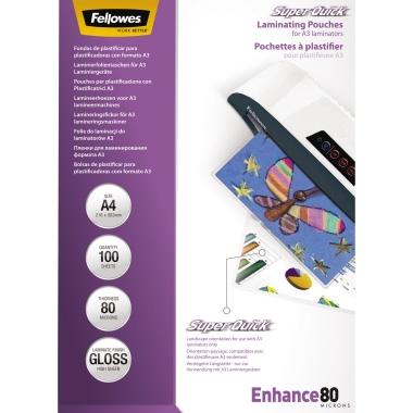 Fellowes® Laminierfolie Enhance Super Quick™ 210 x 297 mm (B x H) DIN A4 80µm glänzend 100 St.