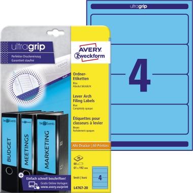 Avery Zweckform Ordnerrückenetikett ultragrip breit/kurz 61 x 192 mm (B x H) ohne Griffloch blau 80