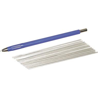 RoNa Glaspinsel 2 x 120 mm (Ø x L) inkl. 12 Ersatzpinsel Metall blau