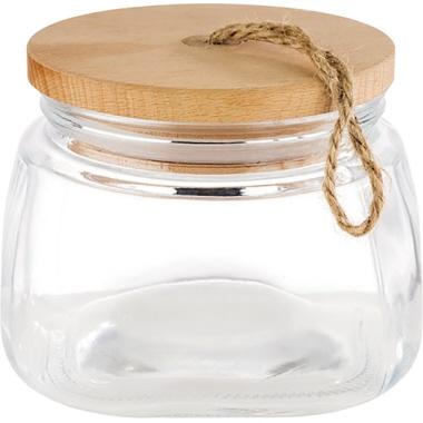 APS Vorratsglas WOODY 14 x 11 cm (Ø x H) 1l Glas/Holz/Silikon transparent