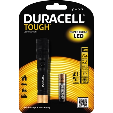 DURACELL Taschenlampe TOUGH™ 24m 40lm LED 2,2 h AA/Mignon inkl. Handschlaufe Aluminium
