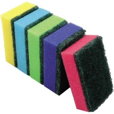 aQualine Topfreiniger 5,5 x 2,8 x 8,5 cm (B x H x T) 100 % Polyurethan 2 x gelb, 2 x blau, 2 x grün,