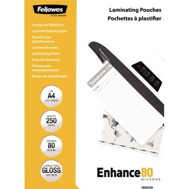 Fellowes® Laminierfolie Enhance 80 224 x 300 mm (B x H) DIN A4 80µm glänzend 250 St./Pack.