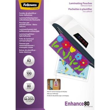 Fellowes® Laminierfolie Enhance 80 297 x 420 mm (B x H) DIN A3 80µm glänzend 100 St./Pack.