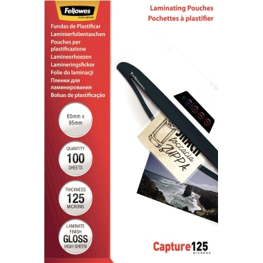 Fellowes® Laminierfolie Capture 125 65 x 95 mm (B x H) 125µm glänzend 100 St./Pack.