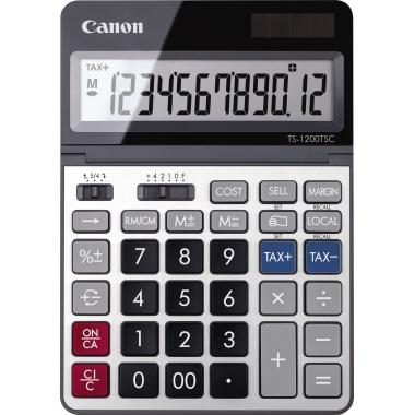 Canon Tischrechner TS-1200TSC 127 x 18 x 179 mm (B x H x T) Solar-Energie, Batterie grau/metall