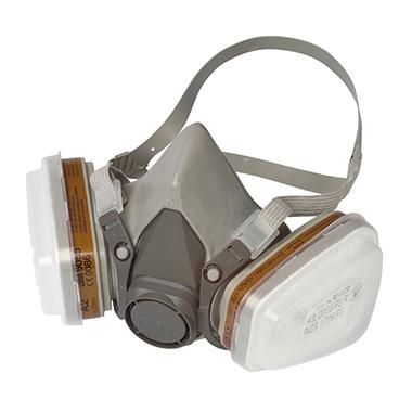 3M(TM) Halbmaske 6002C A2P2 inkl. 1 Paar Filter gegen organische Dämpfe A2 6055, 1 Paar Partikelfilt