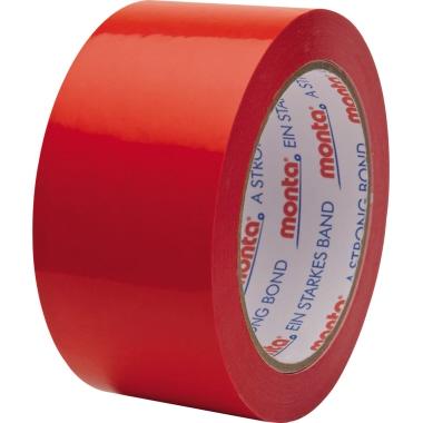 Monta Packband 250 F 50 mm x 66 m (B x L) Hart-PVC-Folie rot 6 St./Pack.