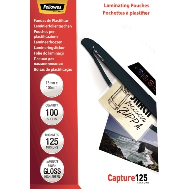 Fellowes® Laminierfolie Capture 125 75 x 105 mm (B x H) 125µm glänzend 100 St./Pack.