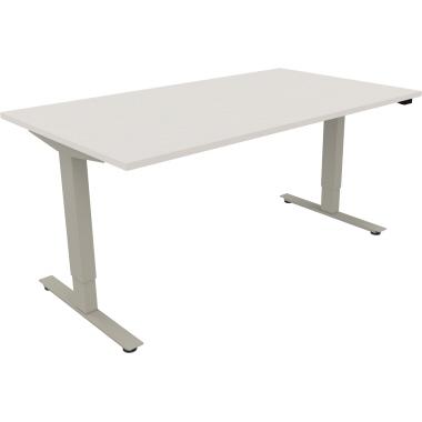 Schreibtisch 1.600 x 625-1.285 x 900 mm (B x H x H x T) Holz diamant weiß
