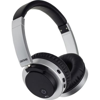 DENVER Kopfhörer BTN-206 10m Akku inkl. USB-Kabel, AUX-Kabel schwarz/silber