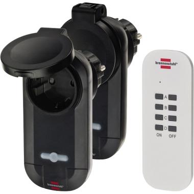 brennenstuhl® Funksteckdose RC CE1 0201 25m 2 Funk-Schaltempfänger schwarz (IP44), Handsender weiß K