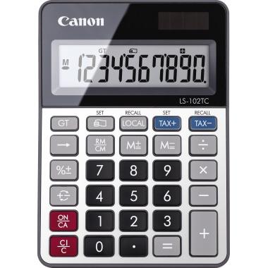 Canon Tischrechner LS-102TC 106 x 24 x 149 mm (B x H x T) Solar-Energie, Batterie grau/metall