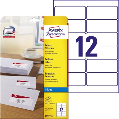 Avery Zweckform Adressetikett 99,1 x 42,3 mm (B x H) Papier weiß 300 Etik./Pack.