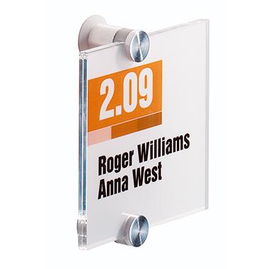 DURABLE Türschild CRYSTAL SIGN 105 x 105 mm (B x H) Beschriftungsschild auswechselbar Acrylglas tran