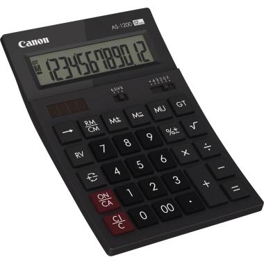 Canon Tischrechner AS-1200 119 x 37 x 177 mm (B x H x T) Solar-Energie, Batterie dunkelgrau