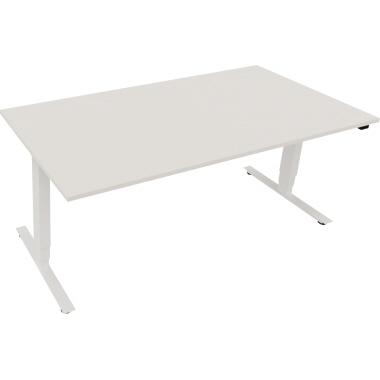 Schreibtisch 1.800 x 625-1.285 x 900 mm (B x H x T) Holz diamant weiß