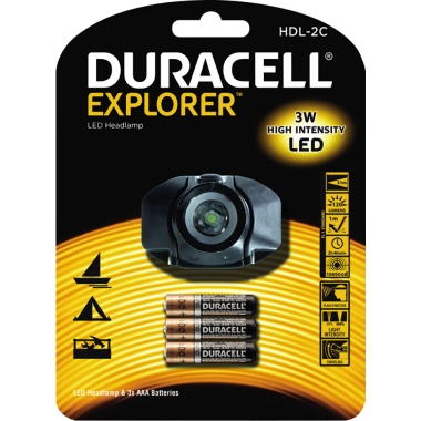 DURACELL Stirnlampe EXPLORER™ 120lm 27m LED 2,4 h AAA/Micro Kunststoff schwarz