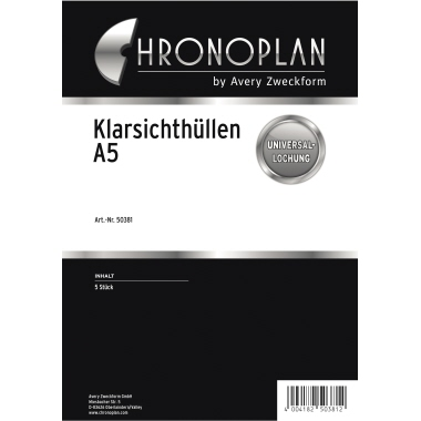 Chronoplan Prospekthülle Timer Terminplaner DIN A5 Folie 5 St./Pack.