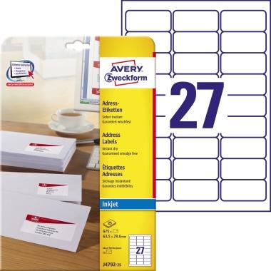 Avery Zweckform Adressetikett 63,5 x 29,6 mm (B x H) Papier weiß 675 Etik./Pack.