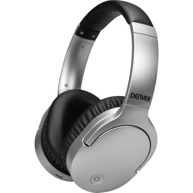 DENVER Kopfhörer BTN-207 Over-Ear 10m Akku inkl. 3,5 mm Klinkenkabel, Micro-USB-Ladekabel silber