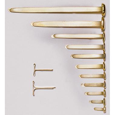 ALCO Musterbeutelklammer Rundkopf 7 x 17 mm (Ø x L) Stahl, beschichtet messing 100 St./Pack.
