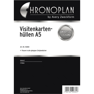 Chronoplan Visitenkartenhülle Timer DIN A5 Folie transparent 3 St./Pack.