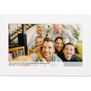 DENVER Digitaler Bilderrahmen 26,6 x 19,5 x 2,1 cm (B x H x T) IPS-Touchscreen weiß