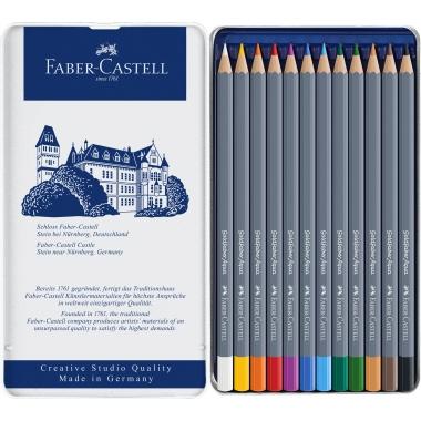 Faber-Castell Aquarellstift Goldfaber 3,3mm weiß, kadmiumgelb, kadmiumorange dunkel, ultramarin, ger