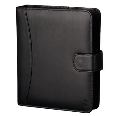 Chronoplan Timer Standard Compact gefüllt DIN A5 Tagesanzeiger, Formularpaket Vollrindleder schwarz