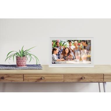 DENVER Digitaler Bilderrahmen 25,8 x 17,6 x 1,8 cm (B x H x T) IPS-Touchscreen weiß