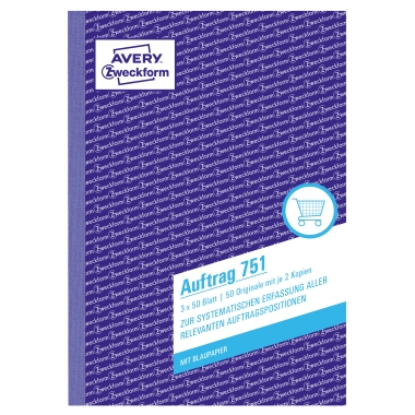 Avery Zweckform Auftragsformular DIN A5 60g/m² nicht selbstdurchschreibend 2 Durchschläge handschrif