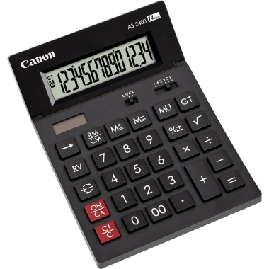 Canon Tischrechner AS-2400 140 x 34 x 198 mm (B x H x T) Solar-Energie, Batterie dunkelgrau