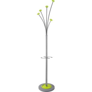 ALBA Garderobenständer Festy Stahl silber/grün