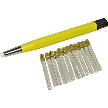 RoNa Glaspinsel 4 x 120 mm (Ø x L) inkl. 12 Ersatzpinsel Metall gelb